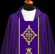 Chasuble with Embroidered IHS Panel - Style ALB1170 available in 5 colors