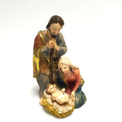 Mini Nativity Scene with muted colors and gold hi light accents done in traditional style with baby Jesus Kneeling Mary and Standing Joseph EICPDQ55A.jpg