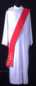 Deacon Stole in Red with Gold Cross - Style HF0020201