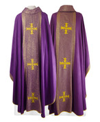 Chasuble made from Bamboo with Embroidered Gold Cross