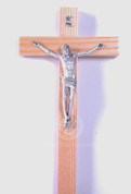 Wall Crucifix Natural Finish Beechwood Cross Silver-Toned Corpus 8 inches LAL167