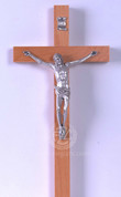 Wall Crucifix Beechwood cross with brown Finish Silver Finish Corpus measures 11 inches made in Italy LAL169