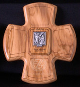 Stations Of The Cross Set of 14 Stations Wood and Oxidized Metal with Roman Numeral and Description On Each measures 5 and 1 quarter by 5 and 1 quarter inches Made In Italy LALVC062