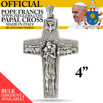 Official Pope Francis 4 inch Papal Cross made of oxidized metal with image of Holy Spirit dove and good shepherd with sheep made in Italy G3553G