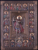 Plaque of St Michael Surrounded by Saints - Style USIWU76286A4