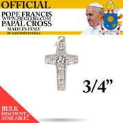 Official Pope Francis three fourths inch Papal Cross made of oxidized metal with image of Holy Spirit dove and good shepherd with sheep made in Italy G350