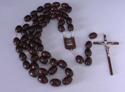 "Our Lady of Perpetual Help Wall Rosary Dark Wood Beads 62"" Length"