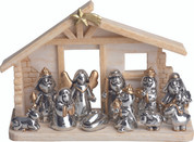11 Piece Modern Nativity Silver and Gold Set Includes Infant Jesus Mary Jospeh 1 Angel 3 Kings 1 Shepherd 1 Donkey 1 Ox and 1 Lamb Stable With Star Is Included figurines measure 4 inches