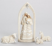 4 Piece Contemporary Nativity Includes Holy Family in Archway 1 Lamb 1 Cow and 1 Donkey made of resin embellished with Papercut Style designs Muted Colors tallest Piece Stands 10 and 1 quarter inches Tall RO31715