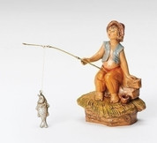 Jada Nativity Piece Little Boy Fishing from Fontanini it is Part of 5 inch Scale Family Heirloom Nativity Collection made from Resin RO59800