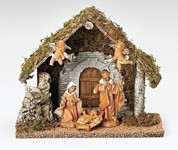 5 Piece Traditional Nativity from Fontanini with Jesus Mary Joseph & 2 Angels includes 12 and 3 quarter by 9 and 3 quarter inch Stable R054790