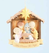 Nativity Christmas Ornament Precious Moments Holy Family With Shepherd And Lamb in Stable with Star made of Resin Measures 4 and 1 half inches RO35141