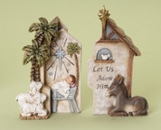 2 Piece Nativity Set Baby Jesus and Animals Puzzle made of Resin stands 7 and 3 quarter inches tall RO34295