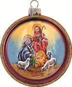 Holy Family Christmas Ornament Round Hand-Painted Glass Made In USA 3 and 1 half inches GDB764003