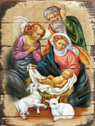 Holy Family Plaque Details shows Nativity on Wood Slats measures 8 inches by 6 inches GDB8502008