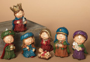 7 Piece Childrens Nativity Set Childlike Figures made of resin Includes Jesus Mary Joseph 1 Shepherd and 3 Kings 4 and 3 quarter inches tall GER2213200