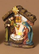 Holy Family Nativity Figurine Family in Lighted Stable made of Resin stands 4 and 1 half inches tall
