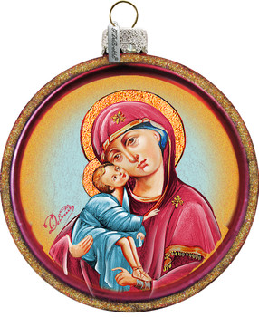 Virgin of Vladimir Christmas Ornament Mary and Jesus Hand-Painted Glass 3 and 1 half inches diameter Made In USA