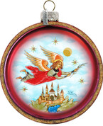 Flying Guardian Angel Christmas Ornament Round Glass Hand-Painted Made In USA 3 and 1 half inches GDB764211