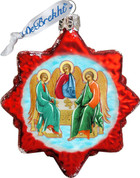 Holy Trinity Christmas Ornament Iconic Style Art Hand-Painted Glass Made In USA 3 and 1 half inches GDB772011
