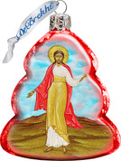Jesus Christ Christmas Ornament Hand-Painted on Tree Shape red Glass Made In USA 3 and 1 half inches GDB772012