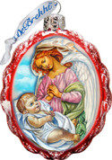 Jesus & Angel Christmas Ornament Hand-Painted Scalloped Oval Glass 3 and 1 quarter inches Made In USA Satin Gift Box