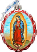 Our Lady Of Guadalupe Christmas Ornament Hand-Painted Scalloped Oval Glass 3 and 1 quarter inches Made In USA Satin-Lined Gift Box GDB772020