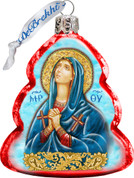 Maria Magdalena Christmas Ornament Hand-Painted Tree Shaped Red Glass 3 and 1 quarter inches Satin-Lined Gift Box Made in USA