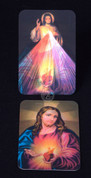 Scared Heart of Jesus and Divine Mercy Holy Card shows Lenticular Printed 3D Images measures 2 and 1 quarter by 3 and 1 quarter inches EGA99