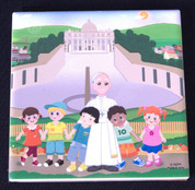 Wall Plaque | Tile Style | Pope Francis with Children