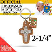 Official Pope Francis Papal Cross Keychain made of Genuine Leather with image of Holy Spirit dove and good shepherd with sheep made in Italy PC186