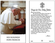 Holy Card of  Praying Pope Francis with Our Holy Father prayer, laminated