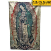 "Authentic Our Lady of Guadalupe Banner Jute Canvas Size 73"" x 48"" OLGPRJUREAL"
