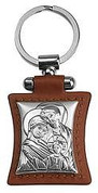 Orthodox Holy Family Silver Toned on Brown Leather Keychain ARG1111191