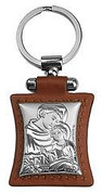 St Anthony Silver Toned on Brown Leather Keychain ARG1111201