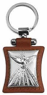 Holy Spirit Dove Silver Toned on Brown Leather Keychain ARG1111241