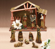 11 Piece Woodland Nativity Set Hand-Painted Porcelain pieces seem to rise from trees includes Jesus Mary Joseph 1 shepherd 1 angel 3 kings 1 ox 1 donkey and 11 inch Creche BUR9719328
