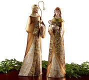 Holy Family Nativity Set Bronze and Gold Tones on Tin Mary stands 16 by 4 and 1 half by 2 and 1 half inches Joseph stands 18 and 1 quarter by 6 by 3 inches BUR9722944