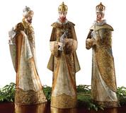 3 Piece King Set Tin Figures depicting three kings in rich detail in silver and gold measure approximately 17 and 1 half inches height BUR9722945