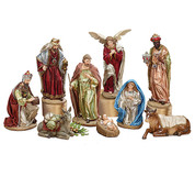 9 Piece Traditional Nativity Set includes Jesus, Mary Joseph 1 Angel 3 Kings 1 donkey and 1 ox ranging in height from 3 to 12 inches BUR9723262