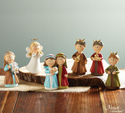 6 Piece Children's Nativity hand painted in Set Soft Colors includes holy family 3 kings shepherd and angel all measuring approximately 5 and 3 quarter inches tall BUR9725543