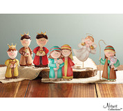6 Pc Childlike Nativity Set features childlike tin figures with unique double swirl stands on holy family shepherd angel and 3 kings pieces stand approximately 6 inches tall BUR9726285