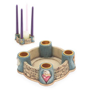 I Believe Advent Candle Holder In Cream & Aqua with Images and inspirational Text includes candles DICHCD314