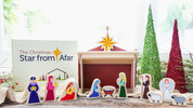 Star From Afar Children's Wood Nativity Set Includes Jesus Mary Joseph 1 Shepherd 1 Angel 3 Wise Men and 2 Sheep with 4 Piece Wood Stable and Wood Star play game using hardbound book included SFANATIVITY