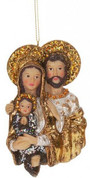 Holy Family Christmas Ornament Glitter Accents Ornate Detail 4 inches MAR3633890A