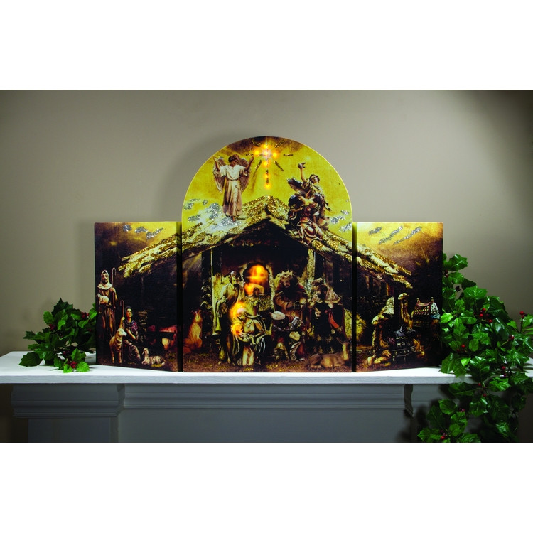 Nativity triptych lighted canvas x 29 5 for 30 lighted nativity christmas window silhouette decoration