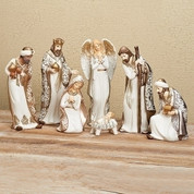 7 PC Nativity Set includes Jesus Mary Joseph 3 Kings and 1 Angel made of Porcelain with Gold Accents tallest piece measures 8 and 1 half inches tall RO31291