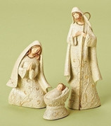 3 Piece  Nativity Set includes Jesus Mary and Joseph in Celtic Design made of resin with Natural Stone Look finish tallest piece stands 7 inches RO31300