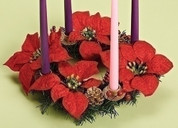 Poinsettia Advent Wreath with Greenery and Flowers and Gold Pine Cone accents measures 14 inches diameter RO31348