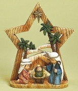 Children's Nativity Scene shows Holy Family With Backdrop Votive Candleholder in Back made of Faux Wood Look Resin stands 8 and 3 quarter inches tall RO31363